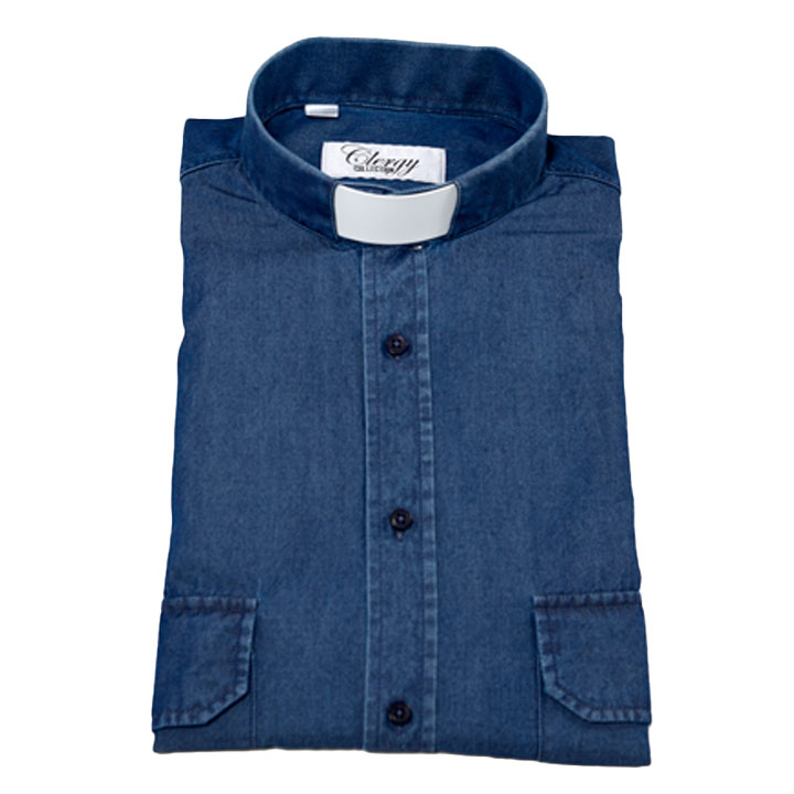 Prästskjorta denim jeansskjorta